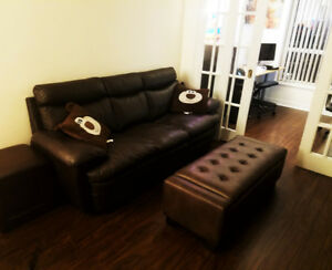 "The Brick's ""Marty"" Genuine Leather Sofa Couch - Brown"