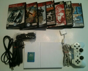 Sony PlayStation 2 PS2 Slim White SCPH-79001 Bundle with 7 Games