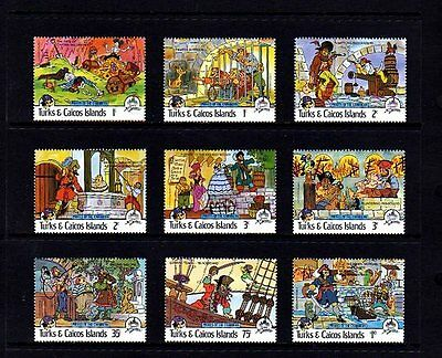 TURKS & CAICOS - 1985 - DISNEY - PIRATES OF THE CARIBBEAN - 9 X MINT - MNH SET!