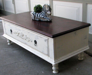 TODAY SALE VINTAGE SHABBY CHIC 2 TONE COFFEE TABLE