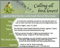 Birding-By-Ear Workshop on the South Shore of Nova Scotia