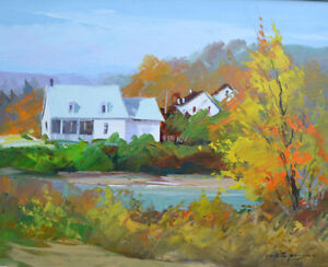 CHRISTIAN BERGERON OIL ON CANVAS PAINTING SIGNED 31 X 27 INCHES