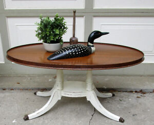 ANTIQUE SHABBY CHIC OVAL COFFEE TABLE - 1 OF A KIND