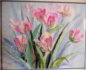 """Summer Flowers by M. Knox """"Pretty in Pink"""" Watercolor, 1970 Stratford Kitchener Area image 2"""