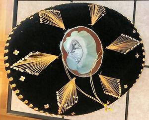 Authentic Mexico Hard Brim Pigalle SOMBRERO Black Velvet W/Gold Kitchener / Waterloo Kitchener Area image 3