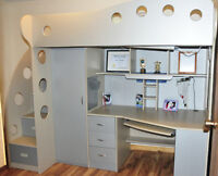 Loft Twin Bed (over) Desk, closet and drawers