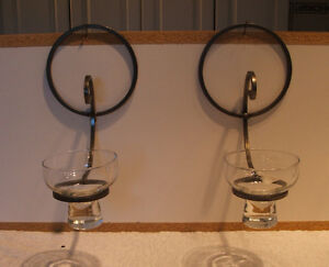 FOUR PEWTER & GLASS CANDLE WALL SCONCES
