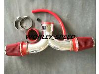BLACK RED DUAL 2004-2012//04-12 JEEP LIBERTY 3.7L V6 TWIN AIR INTAKE KIT
