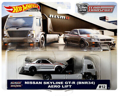 Hot Wheels Team Transport 2019 #12 Nissan Skyline GT-R (BNR34) w/ Aero Lift
