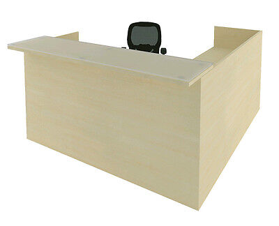 Cherryman Amber L-shape Office Reception Desk W One Pedestal Of Drawers