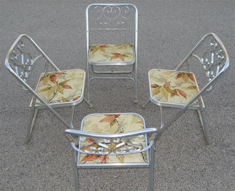 RARE 4 Bunting Aluminum Folding Porch Chairs