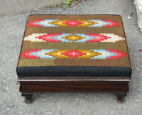 Vintage Wood Foot Stool - Bargello Needlepoint Canvas Covering