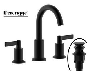 NEW Derengge LFS-A0688-MT-C Two Handle 8 Widespread Bathroom Sink Faucet with Pop up Drain Assembly,Matte Black Cond...