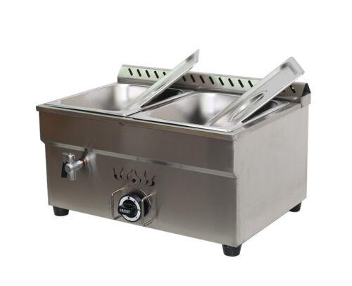 TECHTONGDA 2-Pan Propane Gas Food Warmer 325BTU Water Heating Half Size Pans