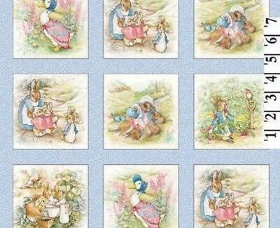 """Beatrix Potter Fabric Peter Rabbit Benjamin Bunny 4"""" Quilt blocks - Baby Blue for sale  Shipping to India"""