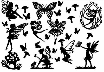 FAIRY Die Cut Outs Silhouette shape x 10 Toppers + free Butterflies - Fairy Jar