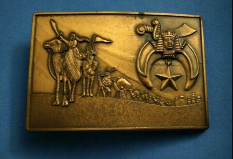 Vintage Solid Bronze Shrine Shriner Camel Caravan Belt Buckle Egypt?