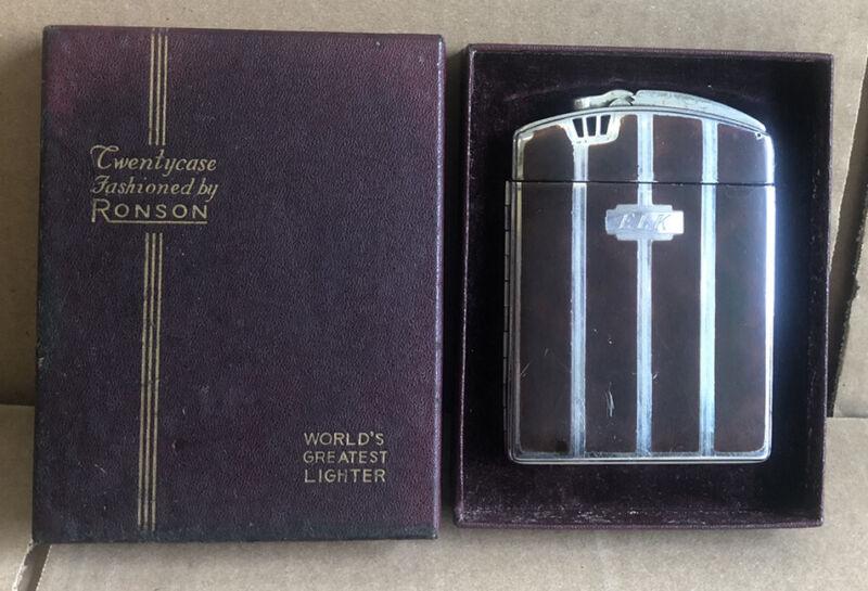 GOOD SHAPE Vintage Ronson Cigarette Holder & Lighter ART DECO Silver & Brown