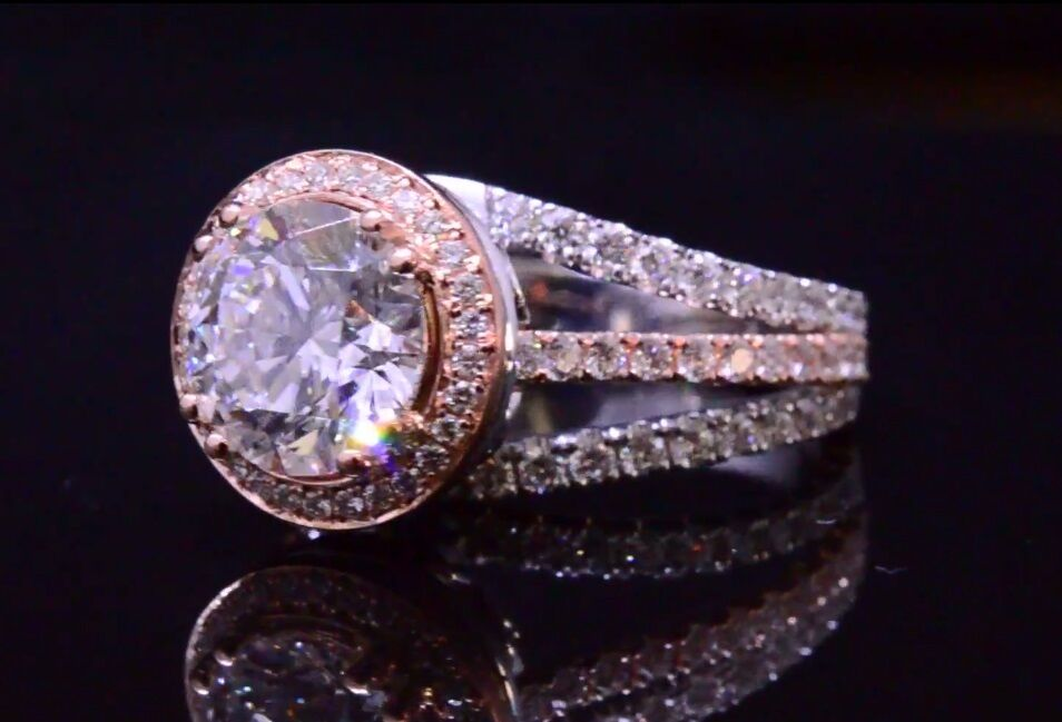 2.00ctw Natural Round Contemporary Split Shank with Natural Pink Diamonds Ring