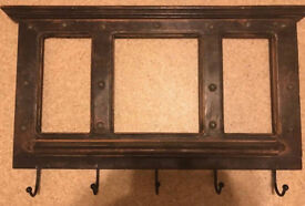 Rustic Wall Mount Coat Rack, can put pics as pic insert holders on back,