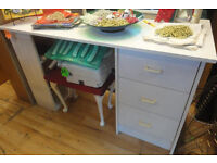 GOOD STURDY CONDITION, A NICE WHITE EFFECT DESK/DRESSING TABLE WITH STOOL