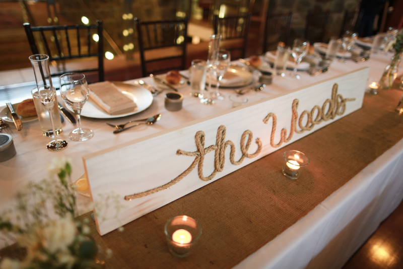 Rustic wooden name wedding decor plaque with rope the woods 1 of 1 junglespirit Choice Image