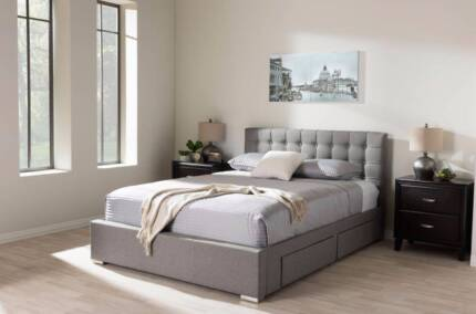 Brand New Fabric Queen Bed With 4 Draw . Pre- Order 20/1/18