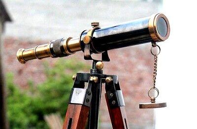 Nautical Design Antique Brass Telescope With Wooden Tripod Marine Spyglass Gift