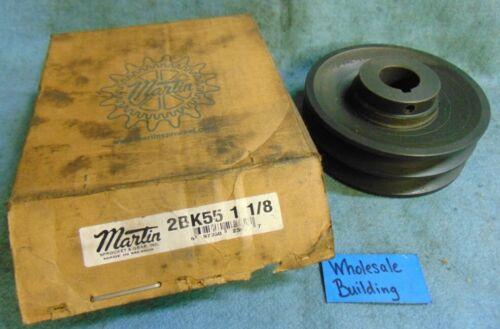 "MARTIN FHP SHEAVE BS, 2 GROOVE, 2BK55 1 1/8, BORE 1-1/8"", O.D. 5.250"""