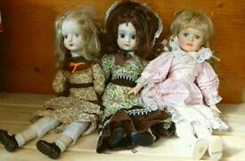 3 Porcelain/China Dolls Collectable