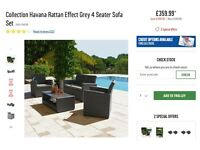 Collection Havana Rattan Effect Grey 4 Seater Sofa Set293/5609 'BRAND NEW FROM ARGOS'