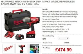 Milwaukee M18CHIWF34-502X 3/4In Impact Wrench fuel Brushless Powerstate 18v 2 x 5.0Ah Li-ion -