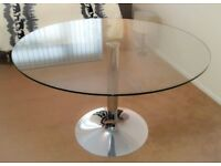 Glass Dining Table Round 120 cm Diameter Solid Heavy Base