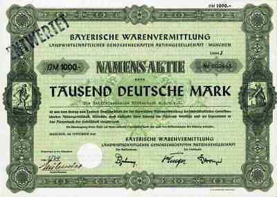BayWa München 1960 Landhandel 1000 DM  Lit.J Straubing Dresden Dortmund Salzburg
