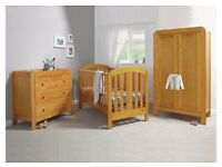 Mamas & Papas 3 Piece set (Bed, wardrobe, dresser) in Pine