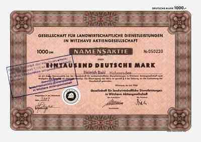 Ges. Landwirtschaftliche Dienstleistungen 1966 Witzhave Mildstedt Husum 1000 DM