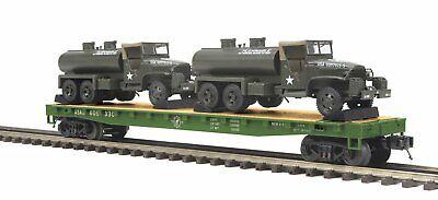 O-Gauge - MTH - U.S. Army Flat Car w/(2) 6x6 Tank Trucks #609334