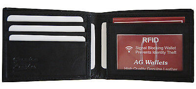 Mens Bifold Genuine Leather RFID Blocking Black Credit Card/ID Security Wallet