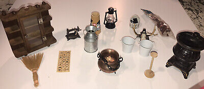 Old Fashioned Pioneer Doll Diorama Furniture +Textile Lot -About 1/6th Scale