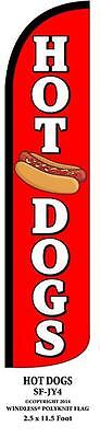 Hot Dogs Red Windless Swooper Feather Banner Flag Sign