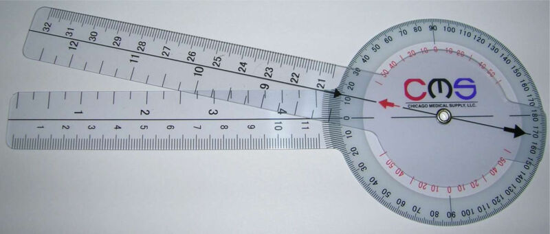 CMS Protractor Goniometer Pocket Axis Motion Range Tester 360 Clear Plastic New