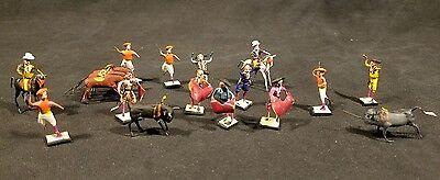 Vintage Miniature Bullfighting Mexican Folk Art 16 Figures