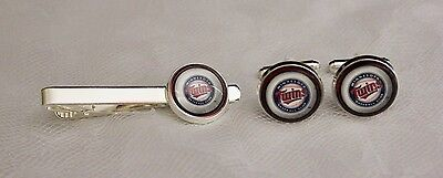 Minnesota Twins Cuff Links & Tie Clip Set made from Baseball Trading -