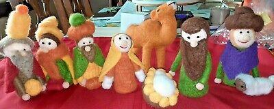 Felted Wool Figures People Animals Nativity 9 Piece Set Christmas Kids
