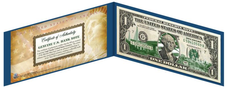 DELAWARE State $1 Bill *Genuine Legal Tender* U.S. One-Dollar Currency *Green*