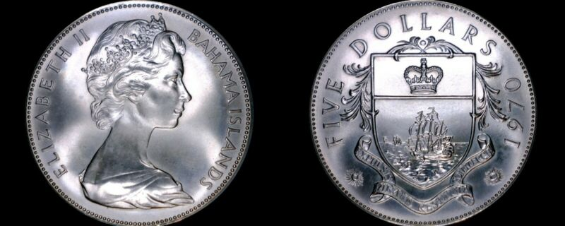1970 Bahamas 5 Dollar Proof World Silver Coin