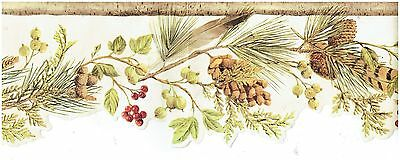 Die Cut Wall Border (FEATHER LEAVES BERRIES AND PINECONES DIE-CUT Wallpaper bordeR Wall decor  )