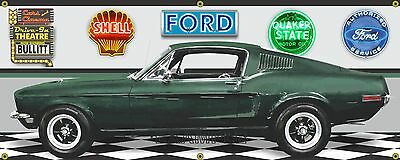 1968 MUSTANG FASTBACK BULLITT MOVIE CAR HIGHLAND GREEN BANNER SIGN ART 2' X 5'