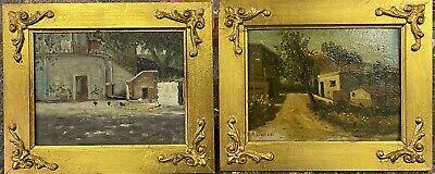 Quadri Antichi Dipinti A Mano Olio Su Tavola Paesaggi Napoletani Con Cornice 900