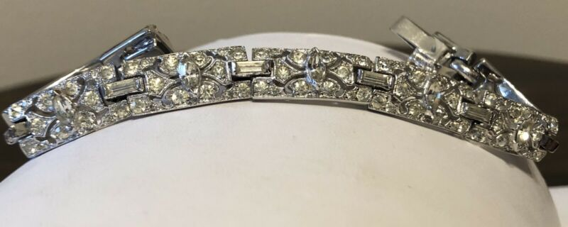 Vintage Art Deco Panetta Signed Clear Rhinestone Silver Tone Link Bracelet